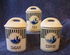 ANTIQUE CANISTER SET Ceramic CZECHOSLOVAKIA YVONNE Coffee Tea Sugar BLUE+WHITE
