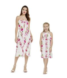 2c5062194a Matching Mother Daughter Set Women Dress Girl Ruffle Dress in Pink Hibiscus  Vine White Mother Daughter