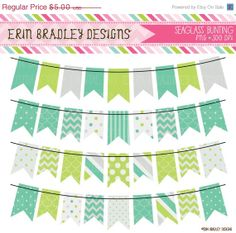 50 OFF SALE Seaglass Colored Bunting Banner by ErinBradleyDesigns, $2.50