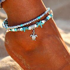 Vintage Shell Beads Starfish Anklets For Women New Multi Layer Anklet Leg Bracelet Handmade Bohemian Jewelry Sandals Gift Silver Anklets, Beaded Anklets, Anklet Jewelry, Anklet Bracelet, Beach Jewelry, Bohemian Jewelry, Charm Jewelry, Jewelry Gifts, Bohemian Hair