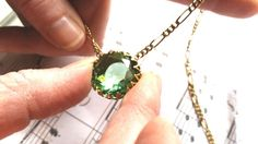 Peridot Crowned Necklace on luxury Figaro Chain Vintage Style low shipping #ArtistiqueJewelry