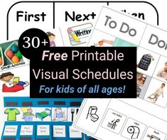 More than 30 free printable visual schedules for home and daily routines. Your child {with autism} likely uses picture schedules at school, why not home too? Visual Schedule Printable, Visual Schedule Autism, Visual Schedule Preschool, Schedule Cards, Preschool Special Education, Visual Schedules, Free Printable, Daily Schedules, Daily Routine Schedule