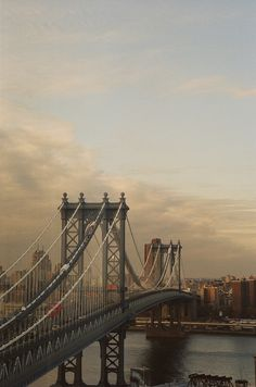 NYC. Manhattan Bridge at dusk