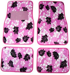 Pink Hawaiian Car Floor Mats www.CarDecor.com