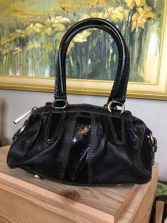 FOSSIL Fifty Four Black Leather & Patent Small Satchel Shoulder Handbag Bag    eBay