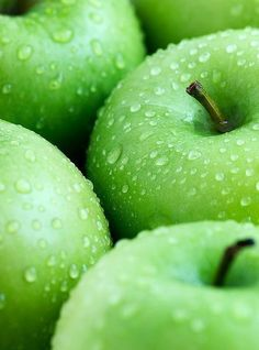 Green apples - Granny Smiths - all crisp and fresh scented.