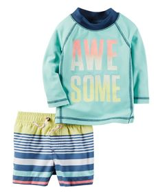 Carter's Carter's Baby Boys Swimwear Mint, fully lined rash guard swim set UPF protection Quick-drying fabric Screen-printed awesome Slogan on rash guard Allover stripes on short Baby Boy Swimwear, Baby Swimsuit, Baby Set, Baby Outfits, Boys Trunks, Swim Trunks, Baby Boy Fashion, Kids Fashion, Toddler Swimsuits