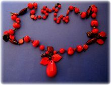 Vintage Lipstick Red Glass Bead and Leaf Necklace