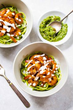 15 Minute Spicy Shrimp with Pesto Noodles - a light, healthy, quick and easy meal with zucchini noodles! 300 calories.
