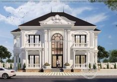 Classic House Exterior, Classic House Design, Bungalow House Design, Dream Home Design, Dream House Exterior, House Outside Design, House Front Design, 4 Bedroom House Designs, Fachada Colonial