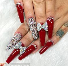 Up To Date With These Great Designs for Red Nails – My hair and beauty Fabulous Nails, Gorgeous Nails, Pretty Nails, Rhinestone Nails, Bling Nails, Jolie Nail Art, Red Acrylic Nails, Red Glitter Nails, Nail Jewels