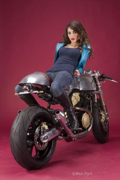 Beautiful woman and a cafe racer, what's not to like