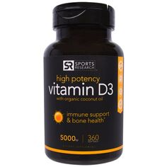 Sports Research, Vitamin D3 With Organic Coconut Oil, High Potency, 5000 IU, 360 Softgels