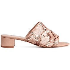 Sequined Mules $29.99 (1.690 RUB) ❤ liked on Polyvore featuring shoes, open toe mules, embroidered shoes, pink mule, pink shoes and faux suede shoes