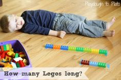 Legos Long Child lays on the floor and guess how many legos or blocks it will take to see how tall or long they are. Preschool Math Games, Measurement Activities, Lego Activities, Lego Games, Indoor Activities For Kids, Numbers Preschool, Toddler Activities, Lego Math, Math Classroom