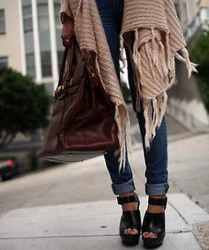 cuffed skinnies, black wedge sandals, awesome bag, chunky knit shawl/sweater
