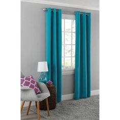 Mainstays Blackout Energy Efficient Grommet Single Curtain Panel Image 1 of 2 Grommet Curtains, Window Curtains, Teal Curtains, Paisley Bedroom, Home Cooler, Primitive Dining Rooms, Bamboo Blinds, Thing 1, White Table Lamp