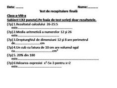 Test recapitulativ from Cool Math on TeachersNotebook.com -  (2 pages)  - Test recapitulativ cu doua tipuri de itemi.