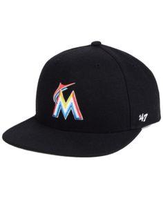 47 Brand Boys  Miami Marlins Basic Snapback Cap - Black Adjustable. Jackie  RobinsonMiami MarlinsMlb ... aac55157b34f