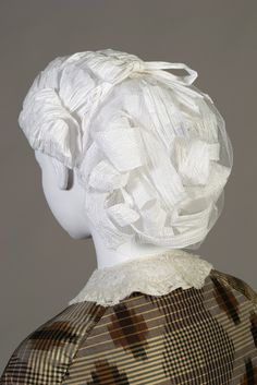 1860s style paper wig. Made for Kent State University Museum's Timeline exhibit.