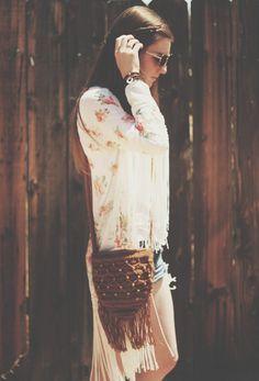 Crochet Hobo Fringe Bag with Wooden Beads. $30. https://www.etsy.com/listing/190355558/beaded-fringe-crochet-boho-summer-side  Boho. Style. Fashion. Summer. Hippie. Fringe. Kimono. Etsy.