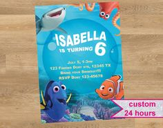 Finding Dory invitation Finding Nemo by DesignMadeDesigns on Etsy Shopkins Invitations, Birthday Invitations, Finding Dory, Rsvp, My Etsy Shop, Handmade Gifts, Check, Kid Craft Gifts, Craft Gifts