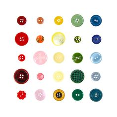 Rainbow of Vintage Buttons  8 x 8 photograph  by QuercusDesign