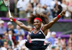 Serena Williams celebrates after winning the women's singles gold medal match against Russia's Sharapova.