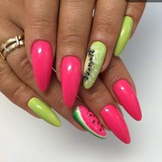 fruit nails kiwi watermelon pink nails green nails