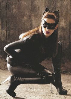 Anne Hathaway as Selena Kyle in The Dark Knight Rises. She is never actually referred to as Catwoman at any point during the film.