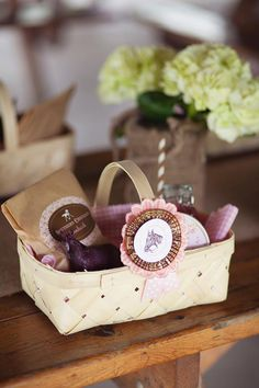 Vintage Pony Party...love these woven wood picnic baskets for individual lunches!