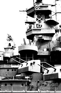 Uss Alabama Battleship Conning Tower Guns And Flags Mobile Alabama Black And White Digital Art Photograph by Shawn O'Brien Uss Oklahoma, Uss Alabama, Navy Special Forces, Us Battleships, Capital Ship, Mobile Alabama, Pearl Harbor Attack, Navy Military, United States Navy