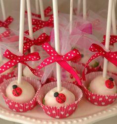 Ladybugs on cake pops. Ladybug Cake Pops, Ladybug Cakes, Miraculous Ladybug Party, Ladybug 1st Birthdays, Ladybug Picnic, Spring Cake, Cute Cakes, Birthday Parties, 3rd Birthday