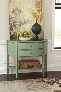 Made with select veneer and hardwood solids. Each piece is finished in a gently distressed vintage painted finish. Each piece is moderately scaled and selected for its versatility of use in the home. Doors and drawers have simple bronze color metal decorative knobs.