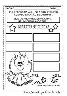 Resultado de imagem para atividades com letras de festa junina