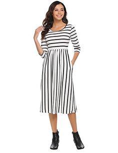 2045346328 Halife Women 3 4 Sleeve Striped Wear to Work Business Cocktail Midi Dress  White Work