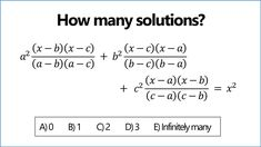 Number of solutions to this tricky equation?! Algebra Problems, Mathematics, Math Equations, Number, Math