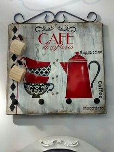 New Wood Signs Ideas Stencil Ideas Decoupage Vintage, Wood Crafts, Diy And Crafts, Arts And Crafts, Tole Painting, Painting On Wood, Arte Pallet, Painting Courses, Coffee Bar Home