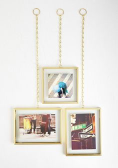 Spruce up your walls with these glam gold frames.