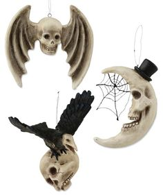 3 Assorted Skull, Moon and Raven Halloween ornaments. Shop Halloween decorations and tree ornaments now! Retro Halloween, Halloween Prop, Halloween Trees, Halloween Ornaments, Halloween Christmas, Halloween Crafts, Halloween Decorations, Christmas Ornaments, Halloween Raven