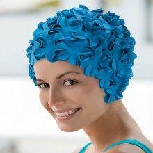 Bonnet de bain femme à fleurs bleues , Bonnets de bain vintage ,  Abysse,sport