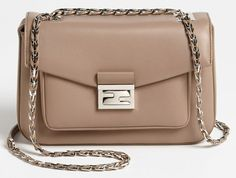"The ""Be Baguette"" by Fendi. A new take on Fendi's iconic baguette bag, with a chain shoulder strap. Baguette, Satchel, Crossbody Bag, Fab Bag, Blush, Best Handbags, Wallets For Women, Purse Wallet, Nordstrom"