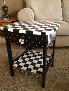 Table - side-accent- occasional- nightstand - hand painted black and white checked. $249.00.