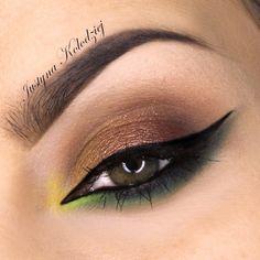 """Saint Patrick's Day' look by Justyna Kolodziej using Makeup Geek's Bitten, Gold Digger, Vanilla Bean eyeshadows and Birthday Wish pigment."