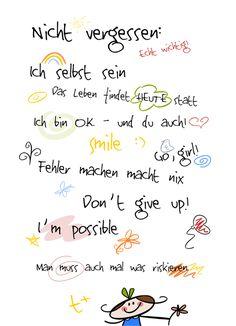 Glückwünsche und Sprüche zur Konfirmation: Zum Weiterschenken: Motivationsprint für (große und kleine) Mädels - Freebie/Printable