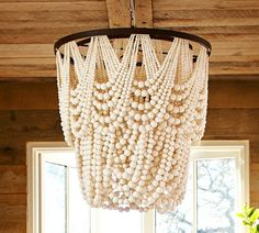 Amelia Draped Wood Beaded Chandelier - Pottery Barn