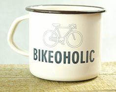 ENAMEL METAL MUG Custom Engraved Cup Personal Tumbler with Sentence: Bikeoholic