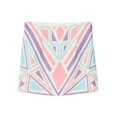 Color Block Chiffon Blend Mini Skirts ($30) found on Polyvore