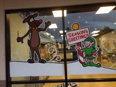 More Christmas window painting Christmas Window Decorations, Christmas Windows, Christmas Door, Christmas 2017, Holiday Ideas, Christmas Ideas, Window Paint, Window Decorating, Window Signs