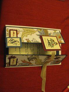 Tri-fold floral wedding card